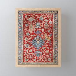 Turkey Hereke Old Century Authentic Colorful Royal Red Blue Blues Vintage Patterns Framed Mini Art Print