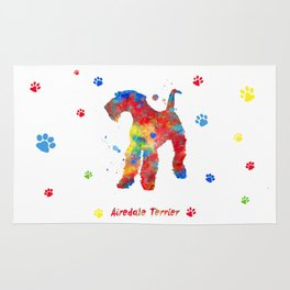 Airedale Terrier Watercolor Colorful Abstract Rug
