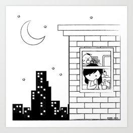 Midnight City Light - Retraced Art Print