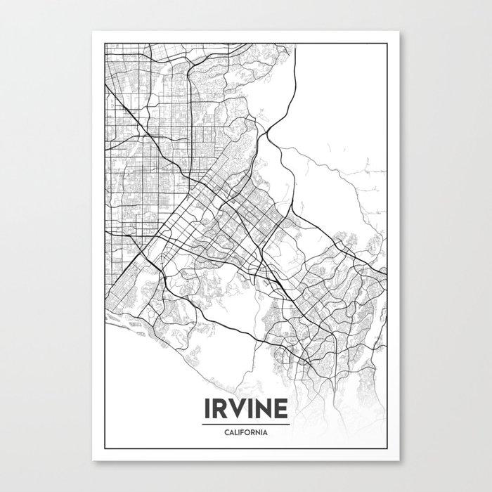 Minimal City Maps - Map Of Irvine, California, United States Canvas Print  by valsymot