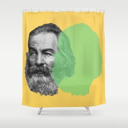 Walt Whitman portrait yellow green Shower Curtain