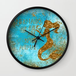 Glitter Typography-Mermaids Are My Favorite Animal Wall Clock