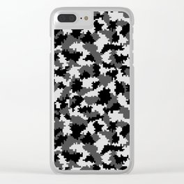 Camouflage Digital Black and White Clear iPhone Case