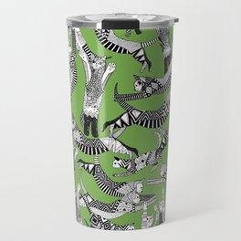cat party palm green Travel Mug