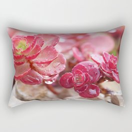 Succulent Garden Cactus Red Flowers Tropical Cacti with drops Rectangular Pillow