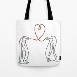 Penguins in love single line drawing Tote Bag