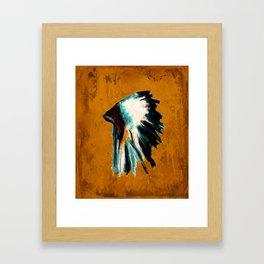 Native Headdress Orange Edit Framed Art Print