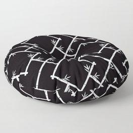 Bamboo Chinoiserie Lattice in Black + White Floor Pillow