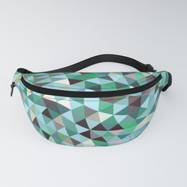 Green Blue Triangles Mosaic Circulation Fanny Pack