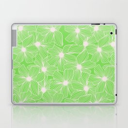 02 White Flowers on Green Laptop & iPad Skin