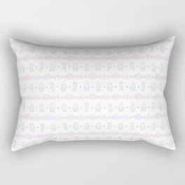 Stripes of Potted Cacti And Flowers Rectangular Pillow