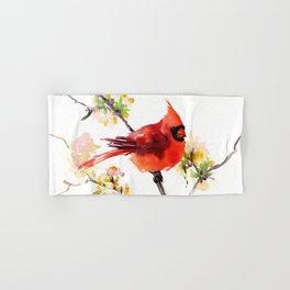 Cardinal Bird in Spring Hand & Bath Towel