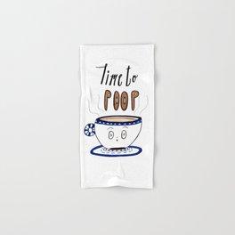 Time to Poop, Illustration, Watercolor, Coffee Art, Hand lettering, Poop Jokes. Hand & Bath Towel