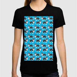 Border collie dogs pattern on blue T-shirt