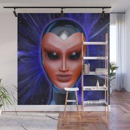 Blue Alien Mental Energy Wall Mural