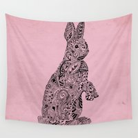 rabbit Wall Tapestries featuring Rabbit by Kanika Mathur Design