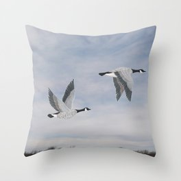 Canada geese and blue sky Throw Pillow