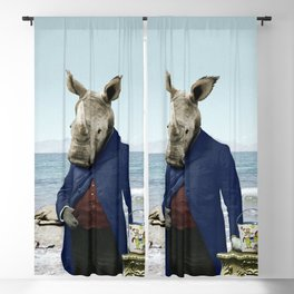 Mr. Rhino's Day at the Beach Blackout Curtain