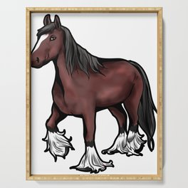 Clydesdale horse Scotish Pony Present Cartoon Serving Tray