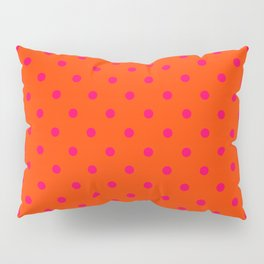 Orange Pop and Hot Neon Pink Polka Dots Pillow Sham