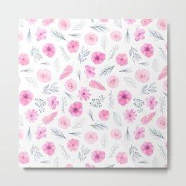 Modern elegant blush pink white watercolor hand painted floral Metal Print