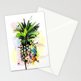 Abstract Watercolor Pineapple Stationery Cards