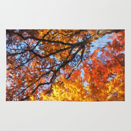 Autumnal colors in forest Rug