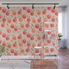 Peaches gouache painting Wall Mural