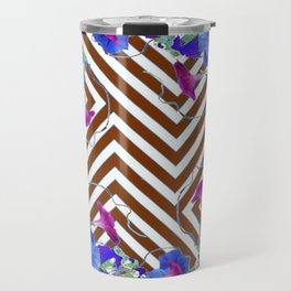 Coffee Brown Blue Morning Glories Abstract Pattern garden  Art Travel Mug