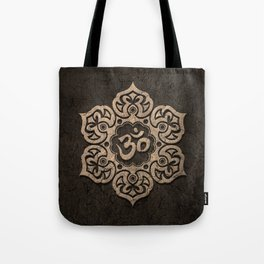 Aged Stone Lotus Flower Yoga Om Tote Bag