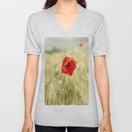 Poppy in the grain field Unisex V-Neck