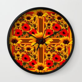 RED POPPIES YELLOW SUNFLOWERS BROWN PATTERN ART Wall Clock