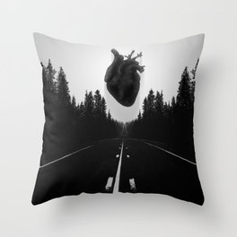 Black Heart Road Throw Pillow