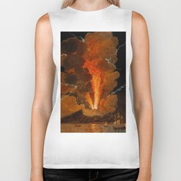 Mount Vesuvius erupting at night, billowing clouds and flashes of lightning Biker Tank