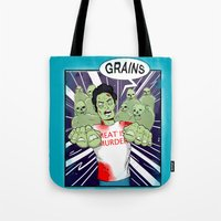 vegetarian Tote Bags featuring Once a vegetarian... by OneAngryBear