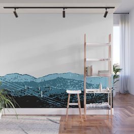 Powerlines in Japan - minimalist mountains Wall Mural