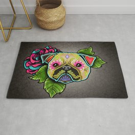 Pug in Fawn - Day of the Dead Sugar Skull Dog Rug