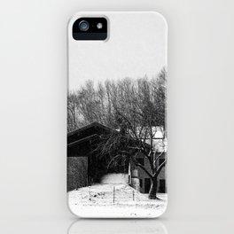 Chiemgau homestead in the snow storm | Chiemgauer Gehöft im Schneegestöber iPhone Case