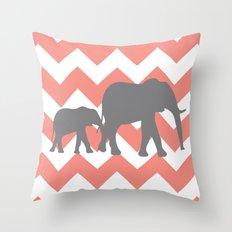 Chevron Elephants Throw Pillow