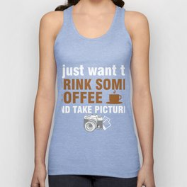 Photographer T-Shirt For Coffee Lover. Unisex Tank Top