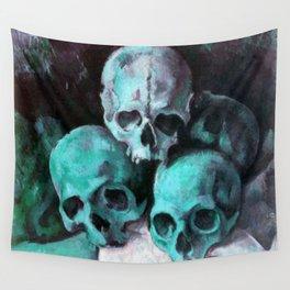 Haunted Halloween Pyramid of Skulls Wall Tapestry