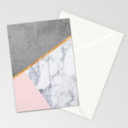 Marble Blush Gold gray Geometric Stationery Cards