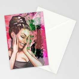 Retro Pinup Girl Laughing & Colorful Abstract Paint Stationery Cards