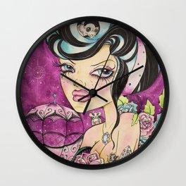 Rockabilly Pop Surreal Art - Rockabilly Girl - Pink Punk Art -  Wall Clock