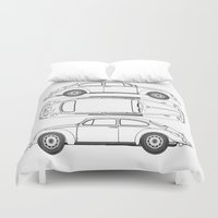 blueprint Duvet Covers featuring VW Beetle Blueprint by Barbo's Art