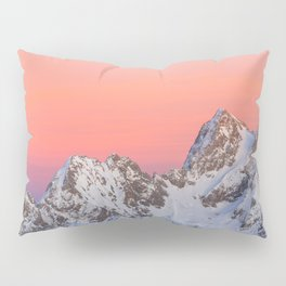 Glowing sunset sky and snowy mountains Pillow Sham