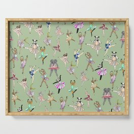 Animal Ballet Hipsters - Green Serving Tray