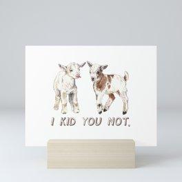 I Kid You Not: Baby Goat Watercolor Illustration Mini Art Print