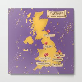 Map Of the Most Haunted Locations of the United Kingdom. Metal Print