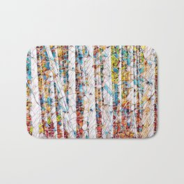 Bare trees colorful abstract pattern Bath Mat